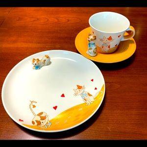 Porcelain Coffee Tea Set With cute Cat Figurines